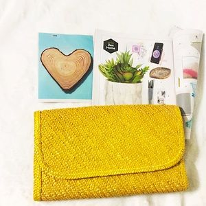 Handbags - Lovely Yellow Woven Envelope Snap Closure Handbag